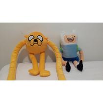 Kit 2 Bonecos Pelúcia Jake + Finn A Hora Da Aventura