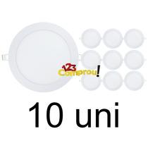 Kit 10 Painel Plafon 18w Luminaria Led Slim Redondo Embutir
