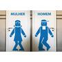 Adesivo Papel Parede Para Porta Do Banheiro Homem E Mulher!