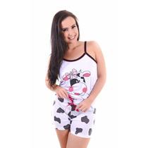 Pijama Adulto Feminino Blusa Short Curto Estampas De Bichos