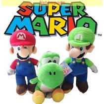 Kit 3 Unidades Pelúcias Super Mario Luigi E Yoshi