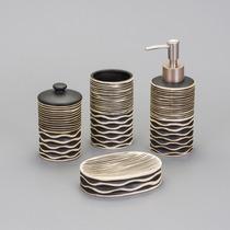 Jogo 4 Peças De Cerâmica Stripe P/ Banheiro Lavatório- 25330