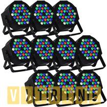 Kit 10 Canhao Refletor 36 Leds Rgbw Dmx Jogo Luz Iluminacao
