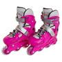 Patins Roller Premium Abec5 Ajustável 41 A 43 Rosa Belsports