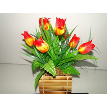 Arranjo Cachepot Flor Artificial Vaso Tulipa 30x34cm