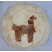 Almofada Redonda Artesanal Lã Alpaca Figura De Lhama