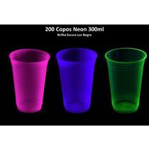 Kit 200 Copos Neon 300ml Brilha Escuro Luz Negra - Atacado