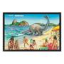 Quadro Decorativo 90x60 Cm - Retro Vintage Dinossauro Praia
