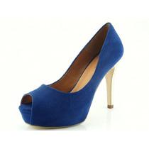 Peep Toe Glamm Meia Pata Azul Sapatos Mania