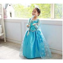 Fantasia Vestido Elsa Frozen Pronta Entrega