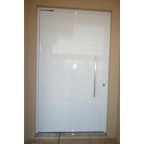 Porta De Alumínio Branco 210 X 90 Cm Pivotante Com Puchador