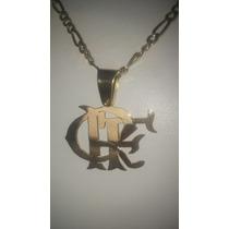 Cordão E Medalha Do Flamengo Crf Com 12 Gramas De Ouro 18k