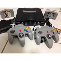 N64 Nintendo 64 Nacional + 2 Controles + 2 Jogos Futebol