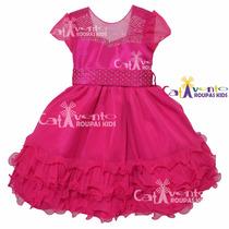 Vestido De Festa Infantil Princesa Luxo Com Tiara De Brinde