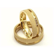 Par Alianças 14 Grs Ouro18k/ 750 Diamantes Frete Nota Fiscal