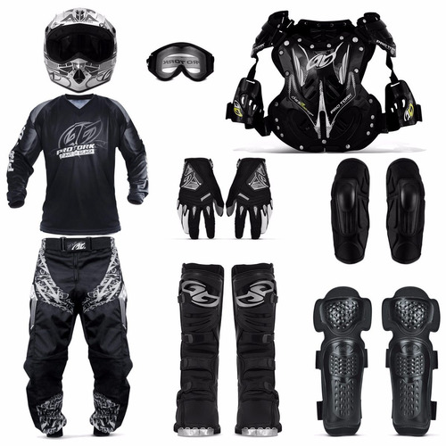 Kit Motocross Calça 46 Bota 43 Cotoveleira Capacete 58 Preto