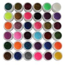 Kit Com 36 Gel Com Glitter Colorido Para Decoração De Unhas.