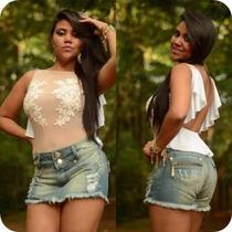 Shorts Saia Jeans Com Detalhes