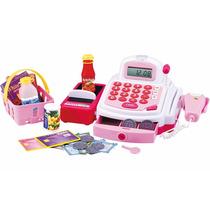 Caixa Registradora Infantil Com Luz E Som Rosa Dm Toys