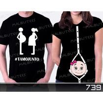 Camiseta Gravida Gestante Tamo Junto Bebe Espiando Botões
