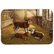 Vacas Bezerros Na Cozinha Barn Ou Bath Mat 20x30 Bdba0179cmt