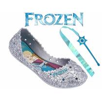Sapatilha Frozen Let It Go Brinde Cetro Com Fita Prata Linda
