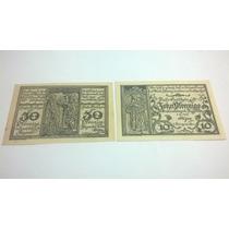 Cédula Alemanha Par De Notegeld 30 E 10 Pfennig 1921 Lt0043