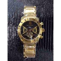 Relógio Masculino Bvgari Automatico Dourado 12x Sem Juros !
