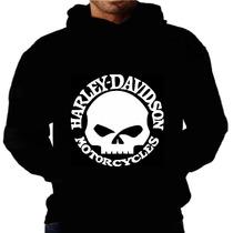 Blusa Moletom Harley Davidson Capuz E Bolso Moto Camiseta