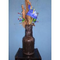 Vaso Rustico Reciclado Madeira Vidro Preto Decoração