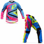 Kit Roupa Motocross Enduro Protork Insane 4 Azul Pink G