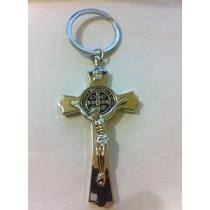 Chaveiro Crucifixo - Medalha São Bento - Cor Prata
