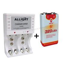 Kit7 C/ Carregador Pilha Aaa Aa 9v + Bateria Recarregável Nf