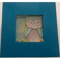Quadro Em Arte Francesa -16x16x5cm - Caixa Turquesa E Branco