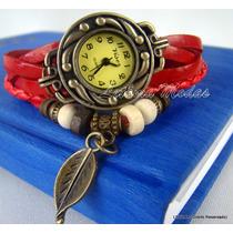 Relógio Feminino Vintage Pulseira Em Couro - Pronta Entrega