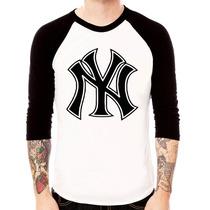 Camisa Raglan 3/4 New York Yankes Baseball