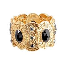 Pulseira Bracelete Pedraria Dourada - Pl00030 Glück Acessór