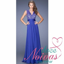 Vestido Longo Casamento Formatura Azul Royal Pronta Entrega