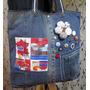 Bolsa Jeans Denim Reciclado Retalhos Totebag * Fuxico Botões