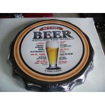 Placa Decorativa Tampa De Garrafa Como Pedir Uma Cerveja Em