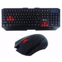 Kit Gamer Teclado Mouse Sem Fio Wireless 2.4ghz 3200dpi