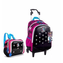 Kit Mochila Escolar Monster High Rodinha Zoops Sestini