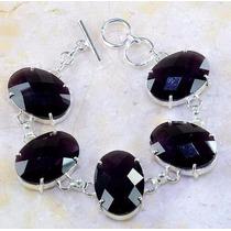 Pulseira Feminina Pedra Naturais Obsidianas Púrpura