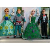 Bonecos Frozen (fever) Kit 2 Casais (4 Personagens)