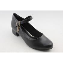 Sapato Feminino Ramarim Salto Baixo Quadrado Preto 583921