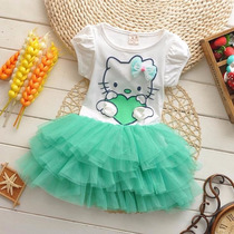Vestido Criança Festa Aniversário Hello Kitty Pronta Entrega