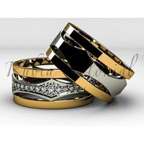 Alianças De Casamento De Luxo Ouro 18k. Diamantes.