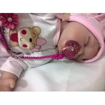 Bebê Reborn Olhos Fechados Chupeta E Enxoval Pronta Entrega