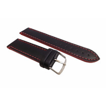 Pulseira Couro Preta 18mm Costura E Lateral Vermelha [g1]