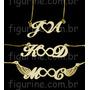 Colar Com Pingente Letras / Iniciais De Nome Banhado A Ouro
